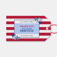 Stars Stripes Patriotic Essential Worker Thank You Gift Tags