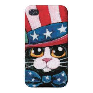 Stars & Stripes Patriotic Tuxedo Cat Illustration iPhone 4/4S Case
