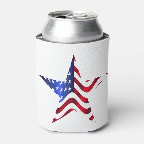 Stars & Stripes Patterned Can Cooler