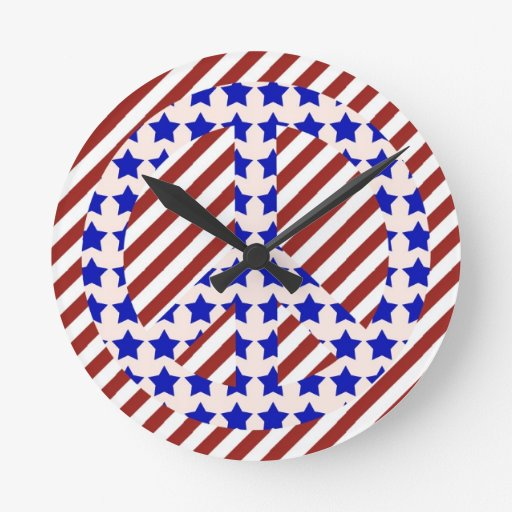 Stars & Stripes Peace Sign Wall Clock