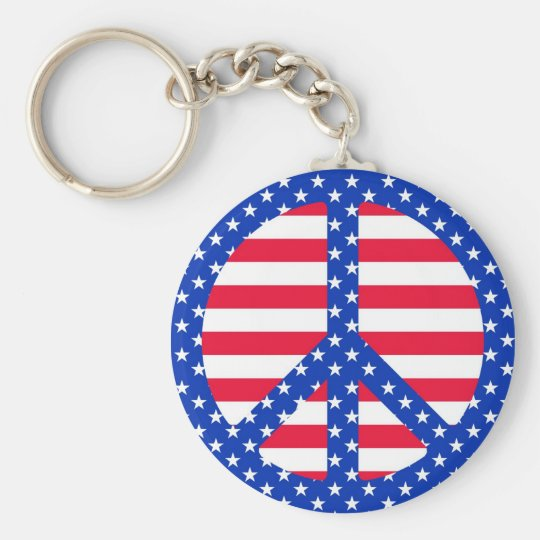 Stars & Stripes Peace Symbol Keychain