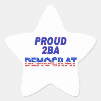 Stars Stripes Proud 2BA Democrat Star Sticker