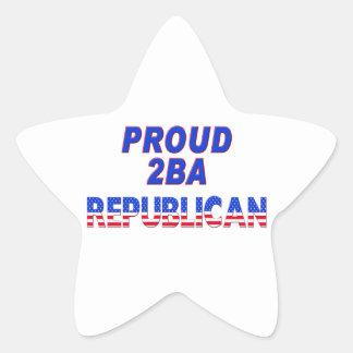 Stars Stripes Proud 2BA Republican Star Sticker