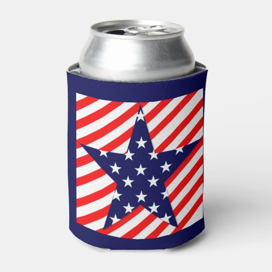 Stars & Stripes, Red White & Blue Can Cooler