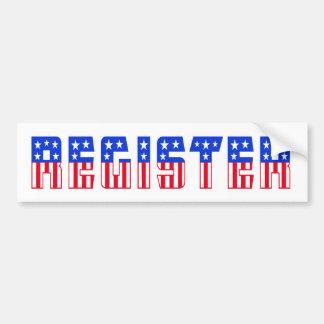 Stars & Stripes Register Car Bumper Sticker