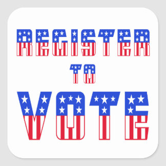 Stars & Stripes Register to Vote Square Stickers