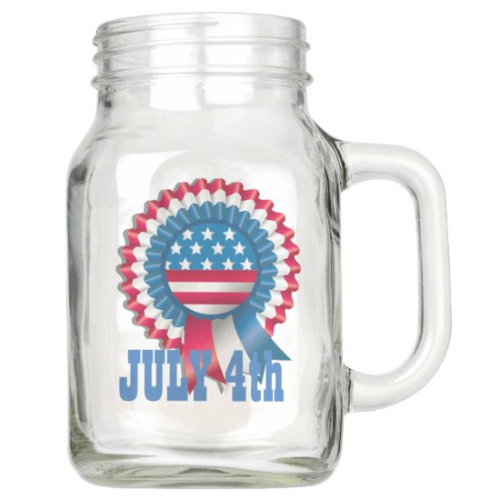 Stars & Stripes Ribbon, 4th of July Country Mason Jar