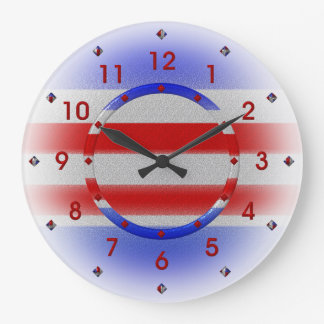 Stars & Stripes USA Patriotic Large Clock