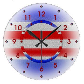 Stars & Stripes USA Patriotic Large Clock