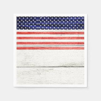 Stars & Stripes White Rustic Wood Patriotic Party Paper Napkin