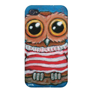 Stars & Stripes Wide Eye Owl Painting iPhone 4 Covers