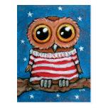 Stars & Stripes Wide Eyed Owl | Bird Art Postcard