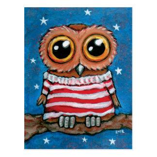 Stars Stripes Wide Eyed Owl Bird Art Postcard