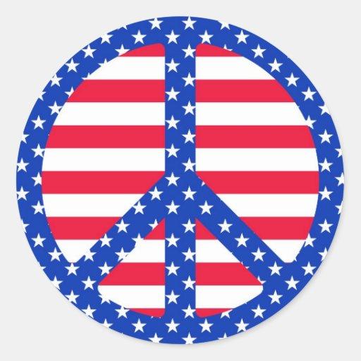 Stars & Striples Peace Symbol Stickers
