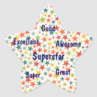 Stars Superstar Awesome Great Student Sticker Seal