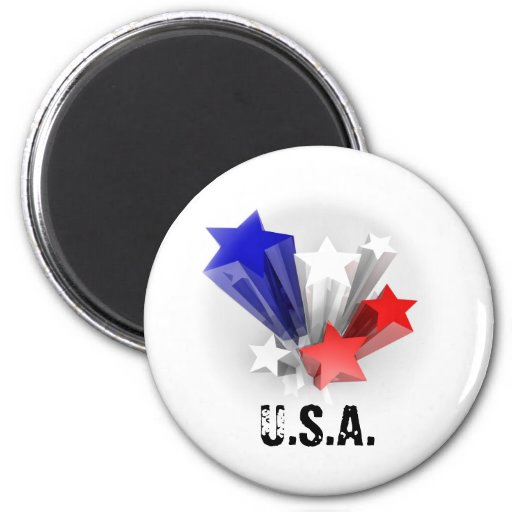 Stars with flag colours 2 inch round magnet