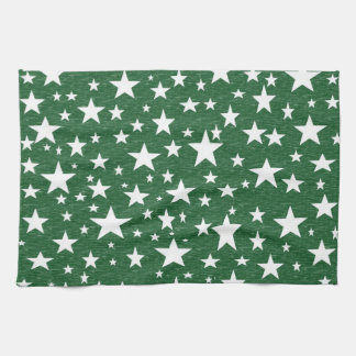 Stars with Green Background Kitchen Towel