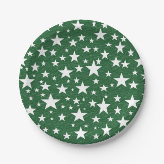 Stars with Green Background Paper Plates