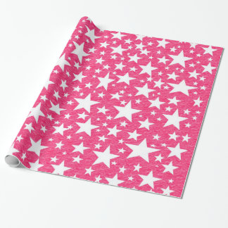 Stars with Hot Pink Background Wrapping Paper