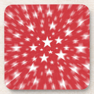 Stars With Red Background Blur Coasters