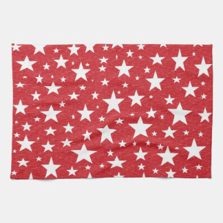 Stars with Red Background Kitchen Towel