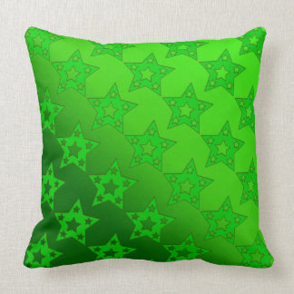Stars Within a Star Pattern, Gradient Green Design Throw Pillow