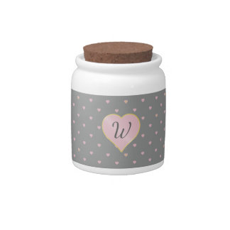 Stars Within Hearts on Gray Candy Jar