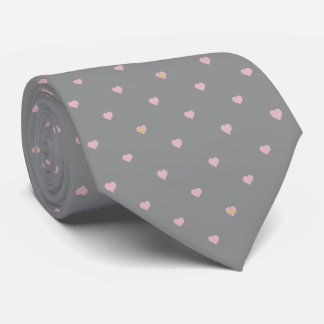Stars Within Hearts on Gray Tie