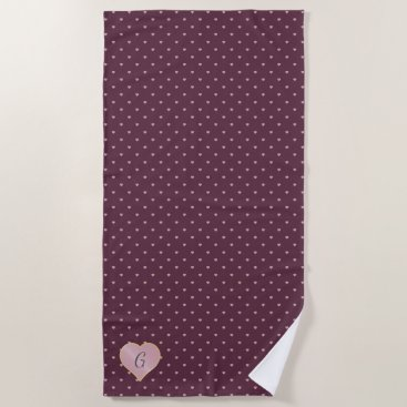 Beach Themed Stars Within Hearts on Port Beach Towel