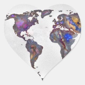 Stars world map pegatina en forma de corazón