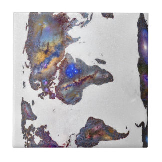 Stars world map small square tile