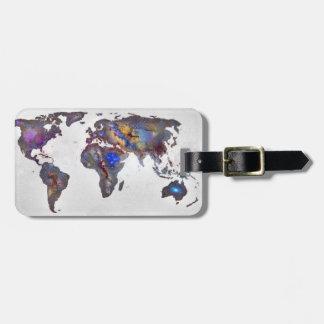 Stars world map travel bag tag