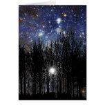 Starscape y árboles - tarjeta de nota