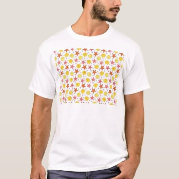 Beach Themed Starsfish and Sun Summer Style T-Shirt