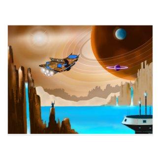 Starship and Scifi Landscape Art Postcard