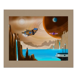 Starship and Scifi Landscape Art Poster