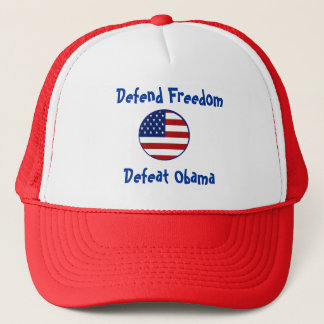 starsnstripesshield, Defend Freedom, Defeat Obama Trucker Hat