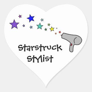 Starstruck Stylist - Rainbow Stars & Hair Dryer Heart Sticker