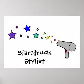 Starstruck Stylist - Rainbow Stars & Hair Dryer Poster