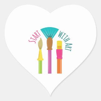 Start With Art Heart Sticker