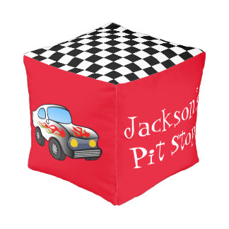 Start Your Engines Personalized Pouf Chair