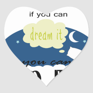 started with a dream heart sticker