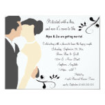 "Started With A Kiss White Bridal Shower Invitation 4.25"" X 5.5"" Invitation Card"
