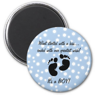 Started With A Kiss Wish Blue Custom 2 Inch Round Magnet