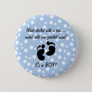 Started With A Kiss Wish Blue Custom Pinback Button