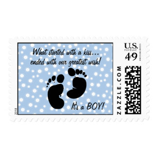 Started With A Kiss Wish Blue Custom Postage