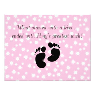 Started With A Kiss Wish Pink Baby Shower Custom Announcement