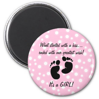 Started With A Kiss Wish Pink Custom 2 Inch Round Magnet