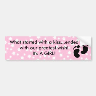 Started With A Kiss Wish Pink Custom Bumper Sticker