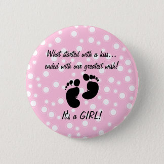 Started With A Kiss Wish Pink Custom Button